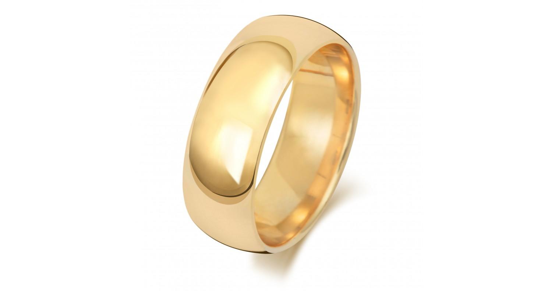 9ct Yellow Gold Court 7mm Medium Weight Band